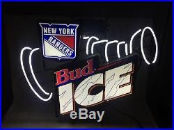 Vintage NEW YORK RANGERS NHL Hockey STANLEY CUP Bud Ice Neon SIGN Budweiser 1995
