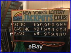 Vintage NY Lottery Jackpot Light Up Sign That Works