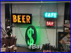 Vintage Neon Bar Sign Tin Can Diminutive