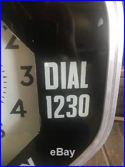Vintage Neon Clock Advertising Octagon Radio Television 18.5 Sign Works Oil