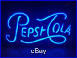 Vintage Neon LED Pepsi-Cola Lit Wall Sign 1950s Style Font