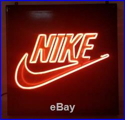 Vintage Nike Swoosh Early 90's Neon Display Wall Sign 19x19 Store Advertising
