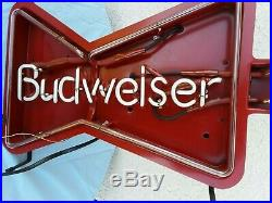 Vintage Original 1990 BUDWEISER Light Up NEON GUITAR Bar Ad Sign 41 L Free Ship
