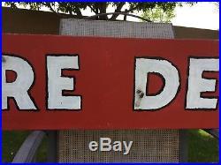 Vintage Original Fire Department Neon Sign Fire Station Fireman Helmet Nozzle