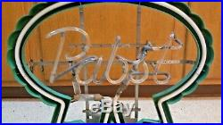 Vintage Pabst Blue Ribbon Beer Neon Sign Mercury Gas Red Advertising Man Cave