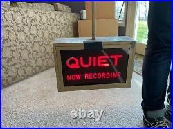 Vintage Quiet Now Recording Studio Sign (Original 1950's or 60's) No Reserve