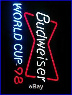 Vintage Retro Budweiser Neon World Cup 1998 Sign Bowtie France Vgc- 240v