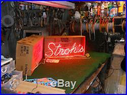 Vintage STROH'S Beer (Lite)Neon Sign, Circa Never Used Original Box