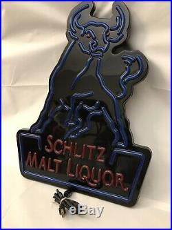 Vintage Schlitz Beer Sign Neo-Neon Bar Decor Light Box Malt Liquor Bull WORKING