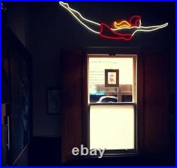 Vintage Swimmer Pool Diver LED Neon Sign. Shabby Chic Retro Home Gift