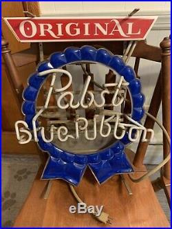 Vintage pabst blue ribbon lighted Neon sign. Beer Bar. Union Made. Original