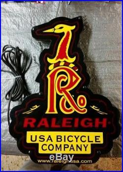 Vintage raleigh usa neon bicycle shop sign