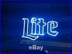 (Vtg) 1970s Miller lite Beer Neon Bar Sign Repair Part glass tube only rare blue