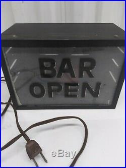 Vtg. Bar Open Red Light Metal Box Sign Man Cave Garage