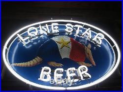 Vtg Lone Star Beer Armadillo Shield Neon Sign Bar Light