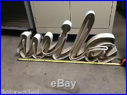 WILA Neon Light Sign Fixture Lighting Cursive Font Vintage Metal Commercial