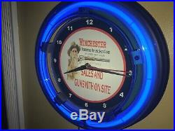 Winchester Firearms Gunsmith Rifle Gun Store Man Cave Blue Neon Wall Clock Sign