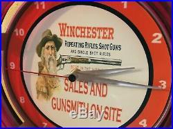 Winchester Firearms Rifle Shotgun Gunsmith Store Man Cave Neon Wall Clock Sign