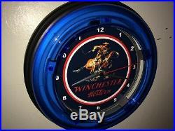 Winchester Western Firearms Rifle Shotgun Gun Store Blue Neon Wall Clock Sign