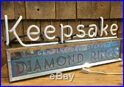Working Original vintage KEEPSAKE DIAMOND RINGS Store Display Light Up Neon Sign