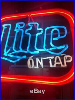(vtg) Miller Lite Beer On Tap Neon Light Up Sign Bar Game Room Man Cave